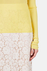 Long Sleeve Turtleneck Knit Sweater - Yellow