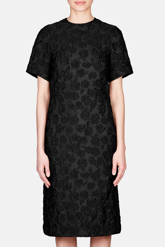 Short Sleeve Belted Back Jacquard Dress - Black