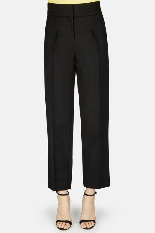 High Waisted Pleat Front Straight Pant - Black