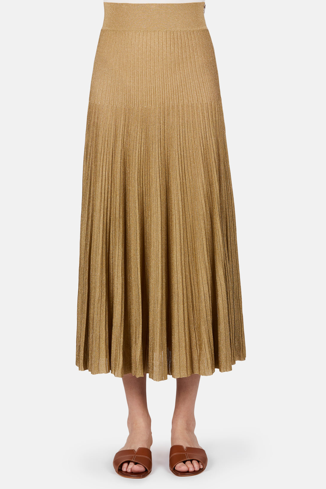 Pleated Knit Midi Skirt - Antique Gold