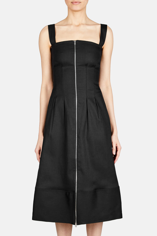 Zip Front Waisted Midi Strap Dress - Black
