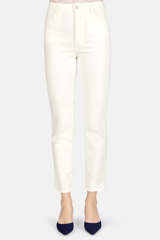 Mid Waist Cropped Straight Jean - Off White