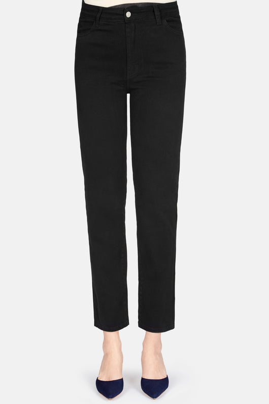 Mid Waist Cropped Straight Jean - Black