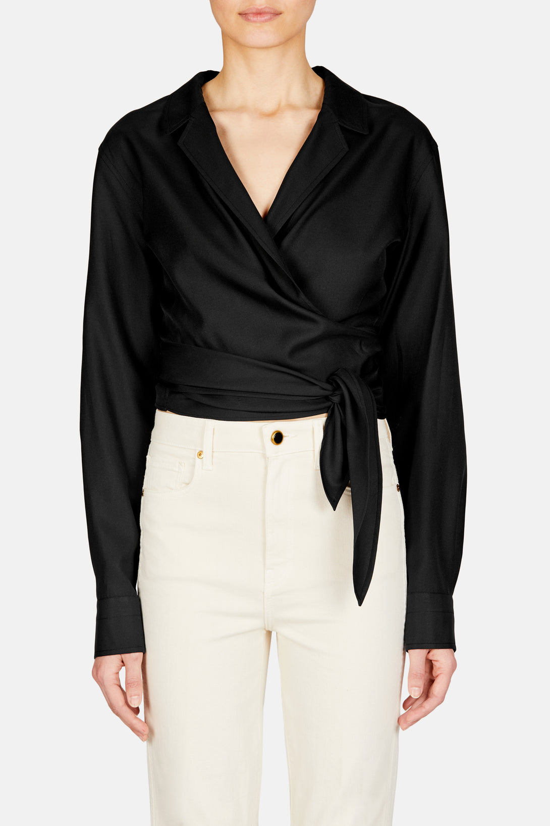 Long Sleeve Wrap Shirt - Black