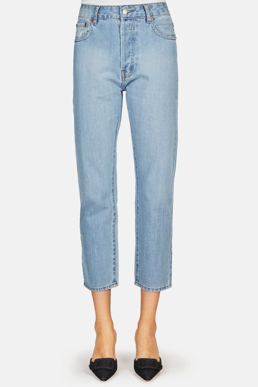 Mid Waist Boyfriend Jean - Light Blue