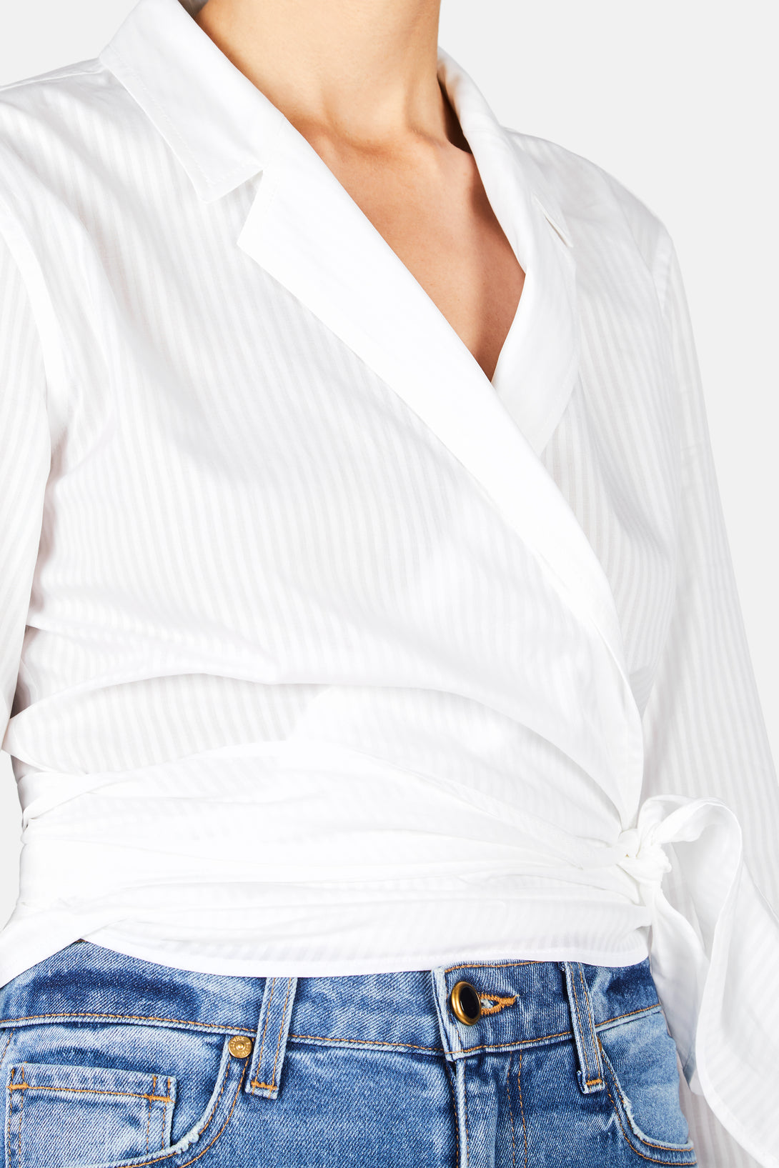 Long Sleeve Wrap Shirt White The Line
