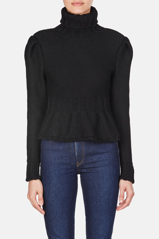 Cinched Turtleneck Sweater - Black