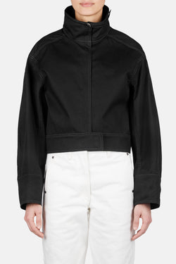 Structured Blouson Jacket with Contrast Stitch - Black