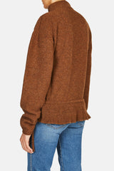 Asymmetric Button Cardigan - Rust