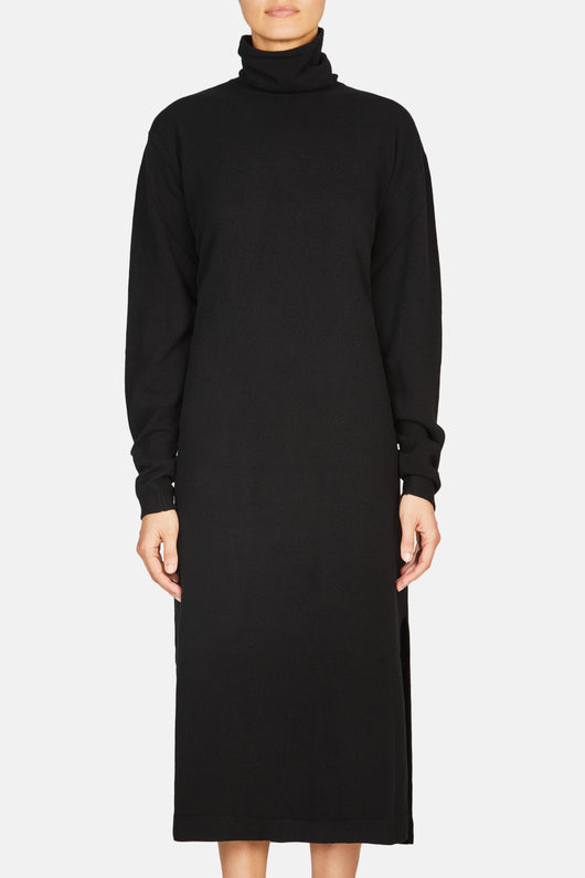 Turtleneck Long Dress - Black