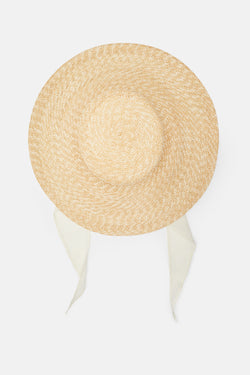 Wide Brim Flat Top Hat With Shade - Natural