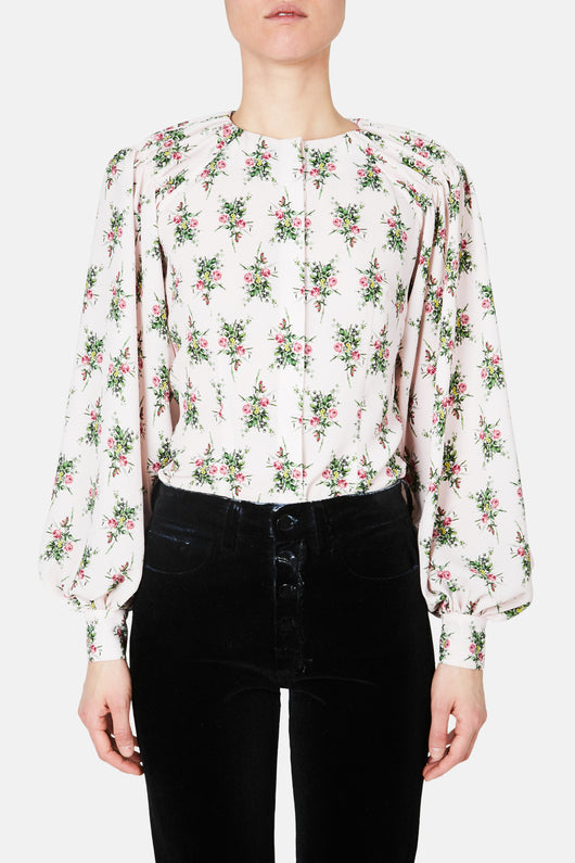 Margot Shoulder Gather Top - Pink Rose Garden