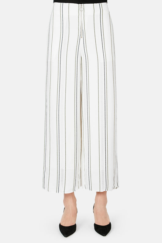 Float Stripe Crepe Pant - White