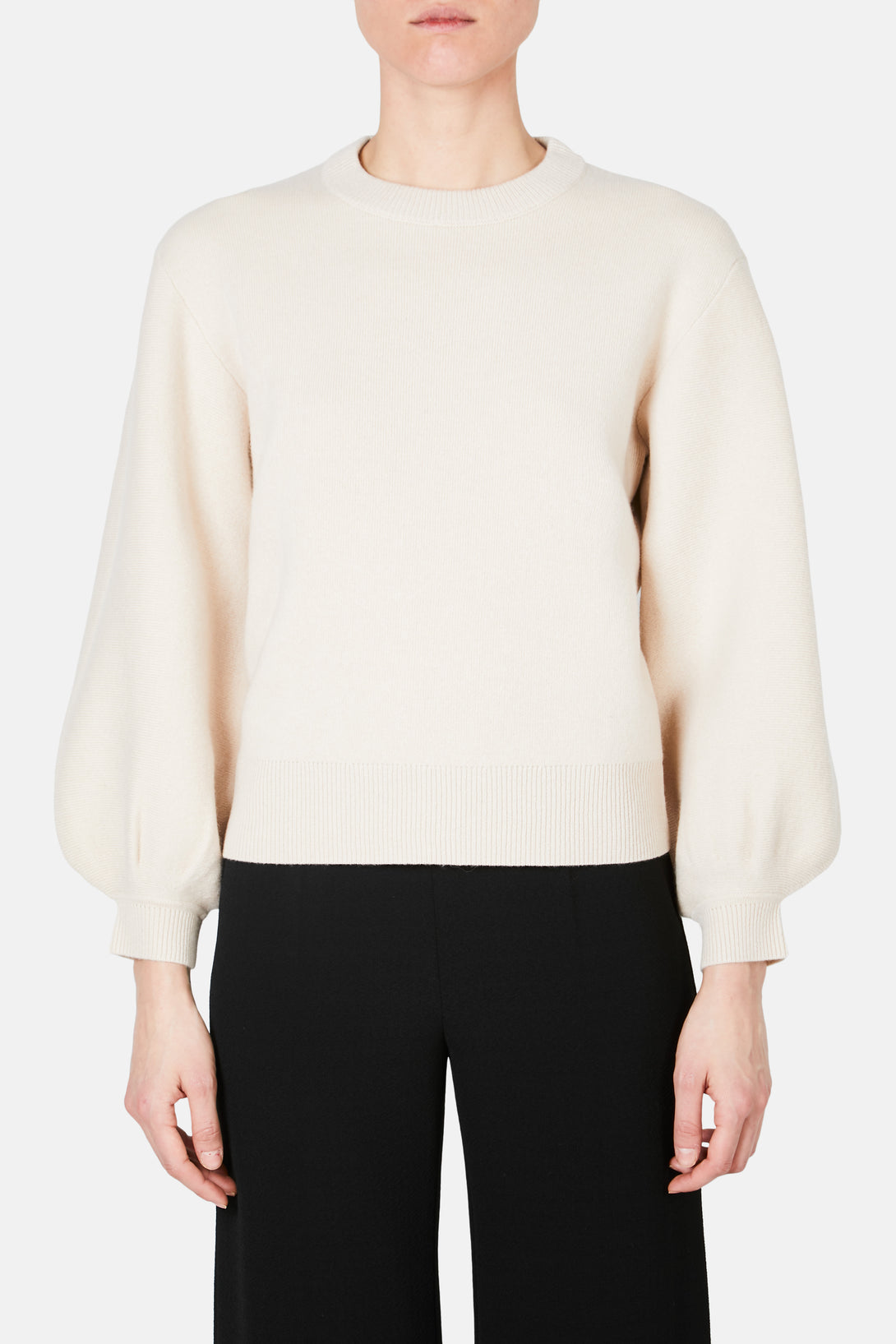 Crewneck Cashmere Puff Sleeve Sweater - Champagne