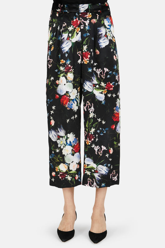Hillary Silk Satin Cropped Trouser - Black/Multi