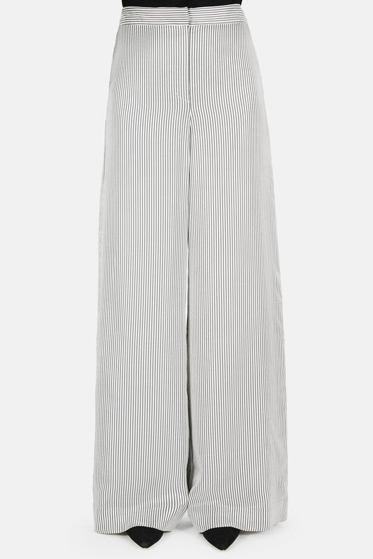 Birte Stripe Satin Wide Leg Trouser - White/Black