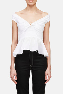 Cotton Peplum Top - White