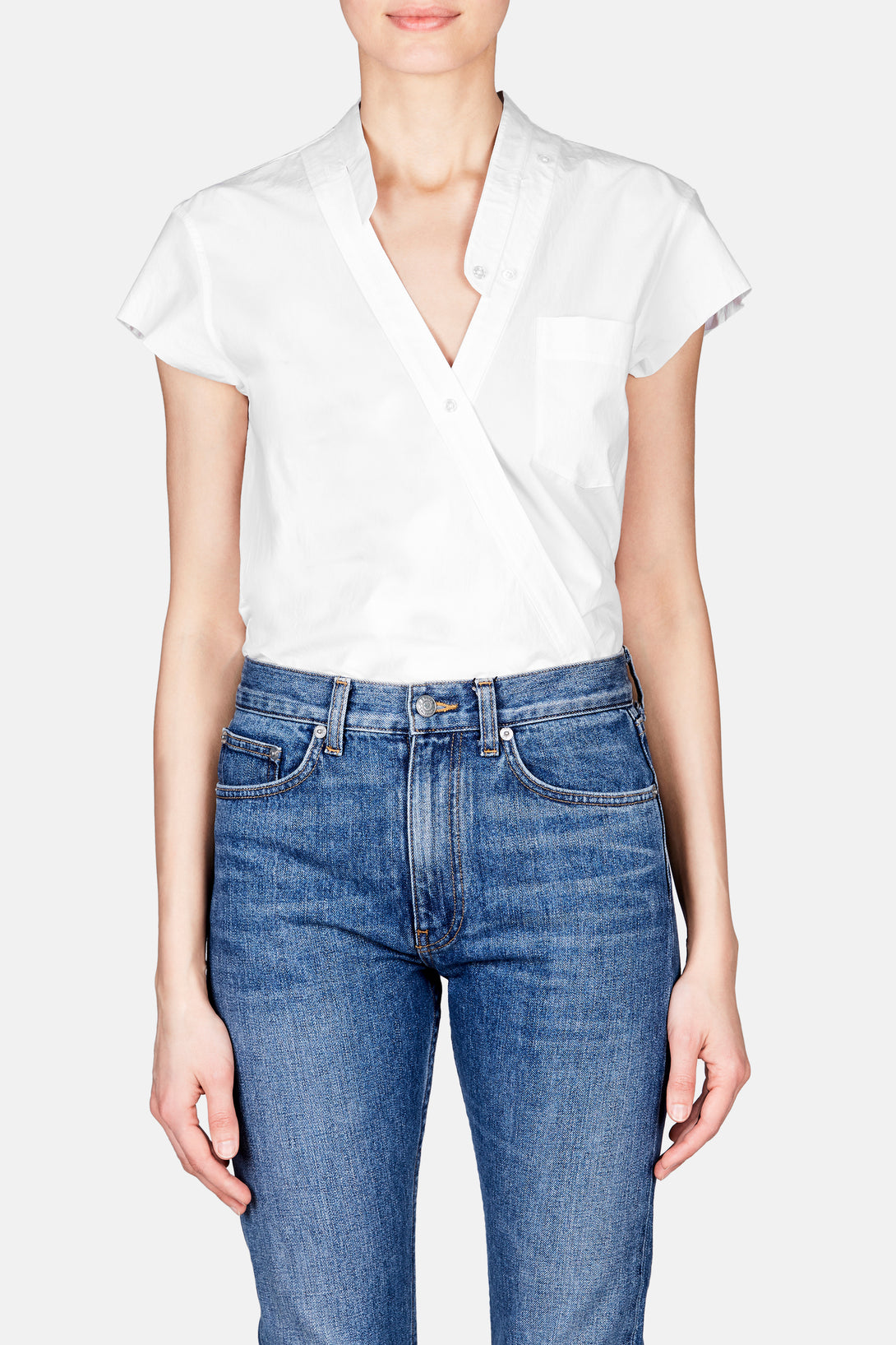 Cross Front Short Sleeve Poplin Bodysuit - White