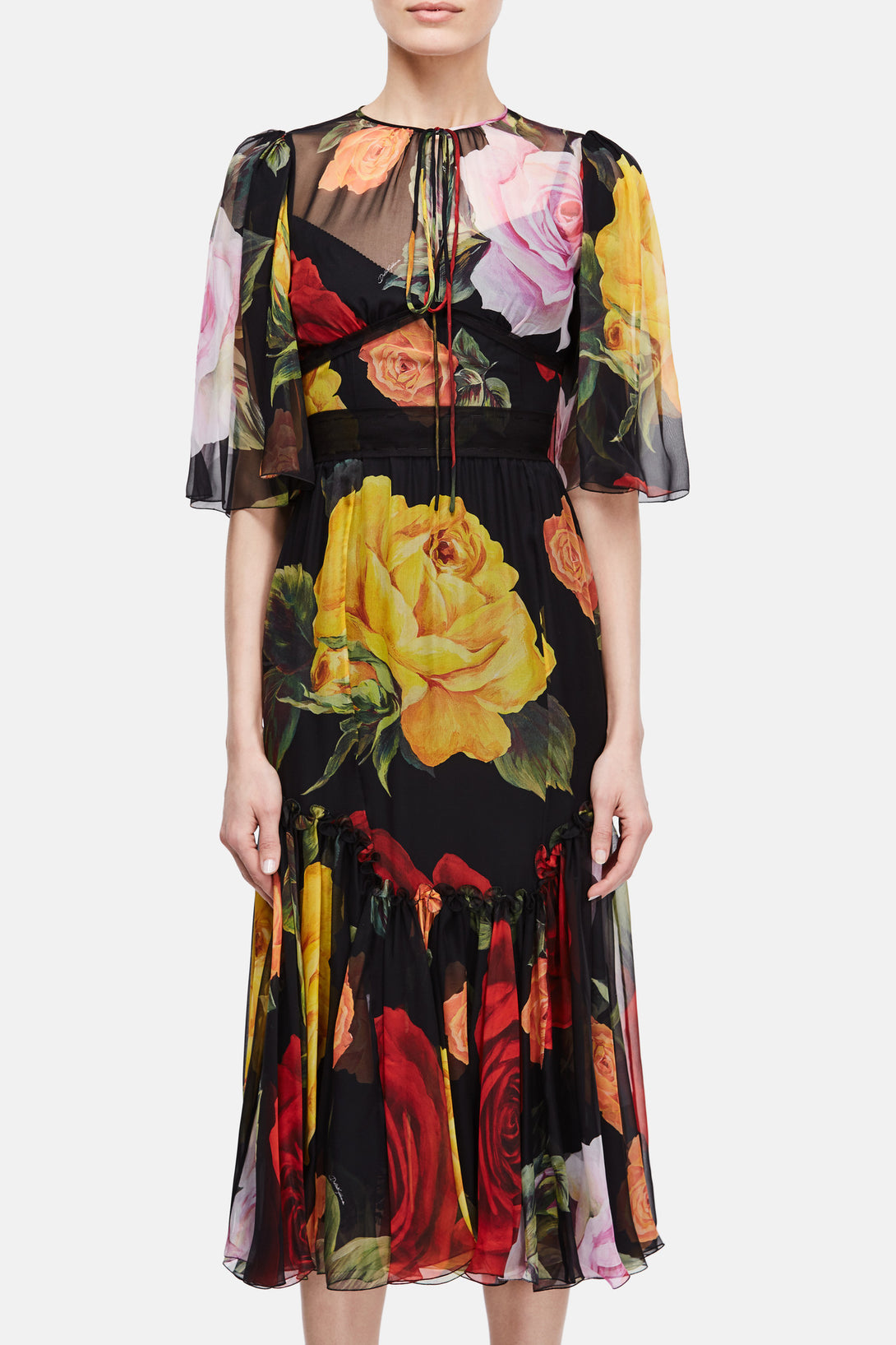Chiffon Rose Dress - Nero