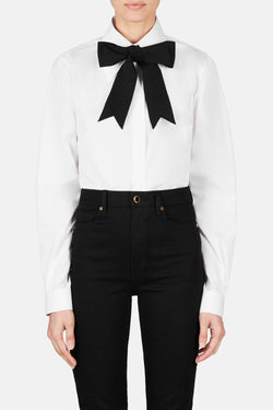 Contrast Pussybow Shirt - Nero