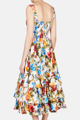Fitted Bodice with Tiered Skirt Floral Dress - White Multi