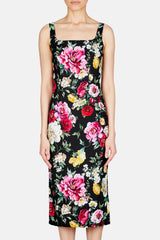 Fitted Square Neck Foral Dress - Black Multi