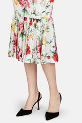 Short Sleeve Flare Hem Floral Dress - White Multi