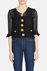 Crochet Orange Button Cardigan - Black
