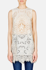 Sleeveless Lace Blouse - White