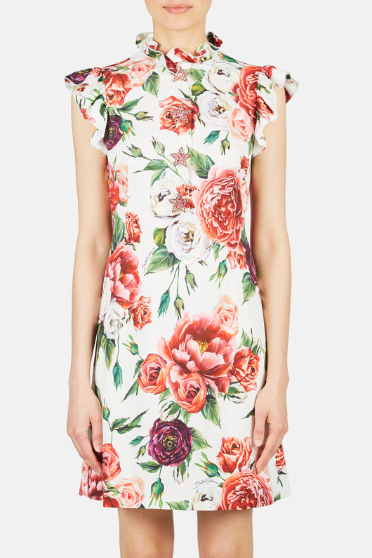 Ruffle Neck Fitted Mini Rose Dress - Roseto