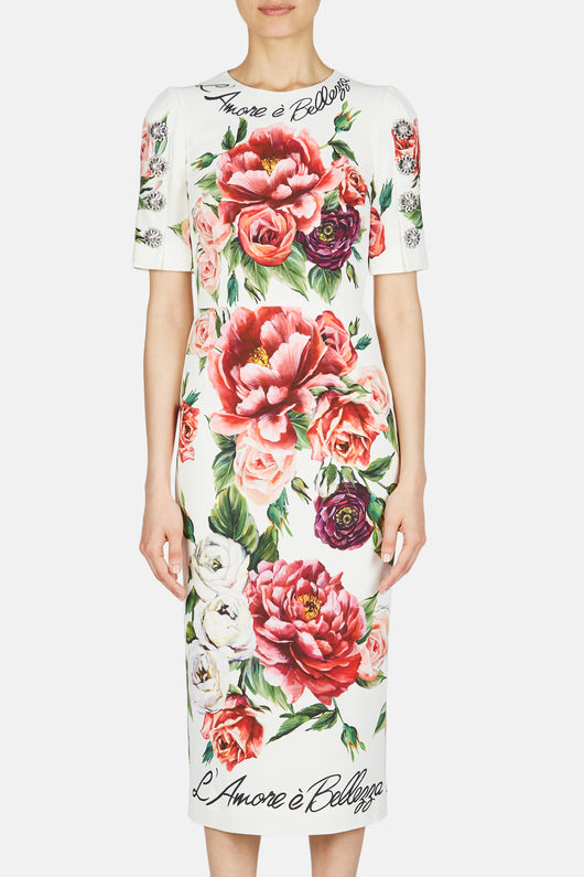 Sleeved Sheath Rose Dress - Roseto