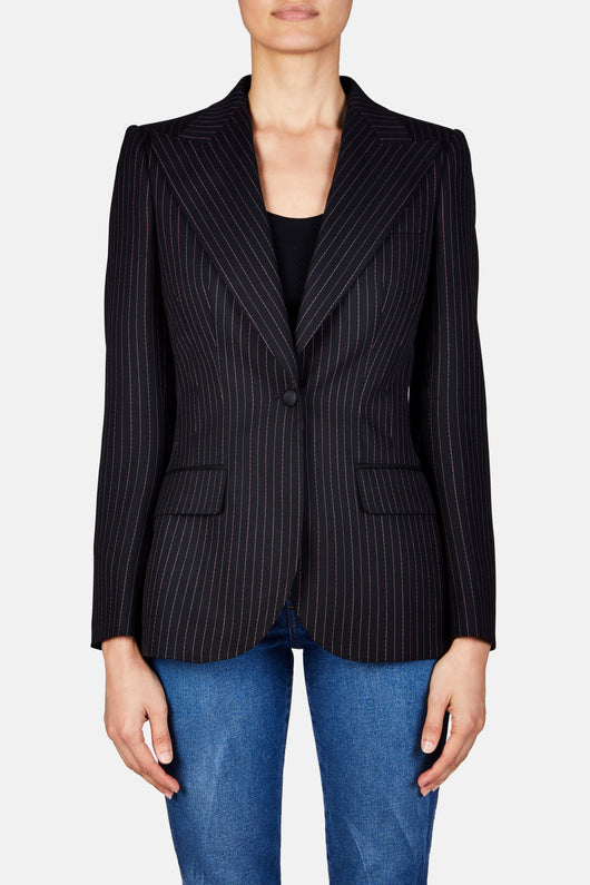 Pinstripe Single Button Blazer - Black