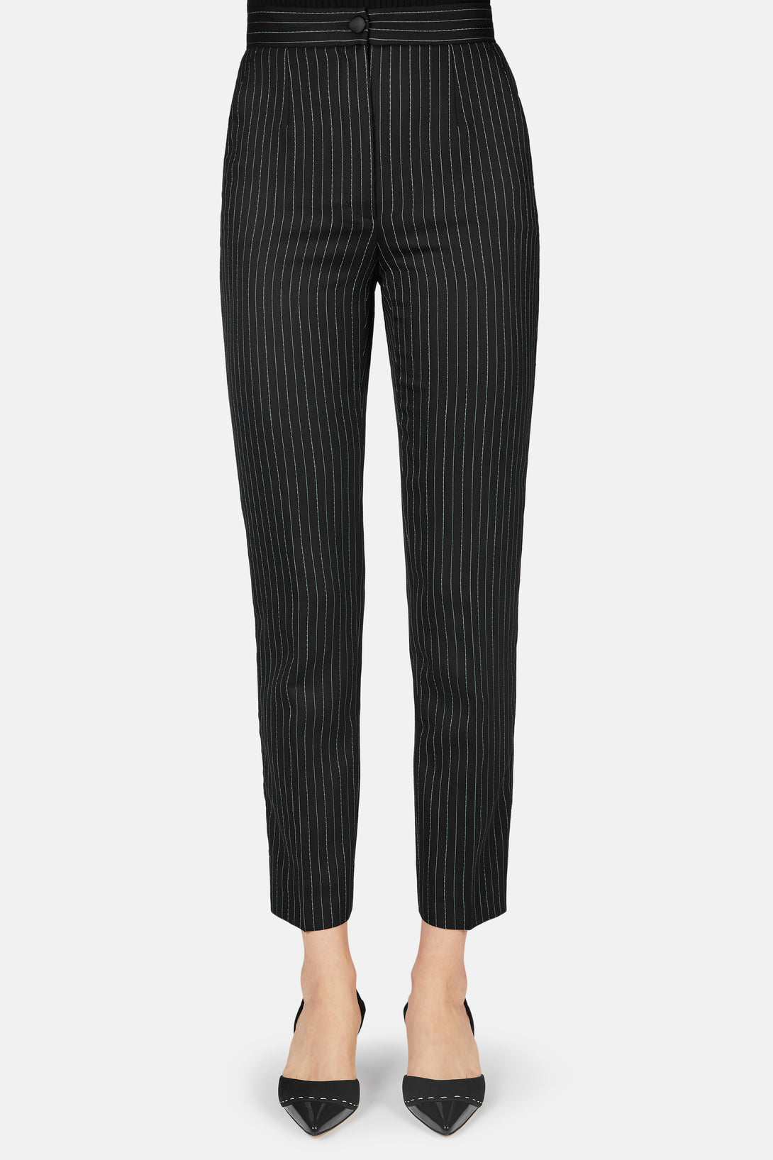 Pinstripe High Waisted Pant - Black