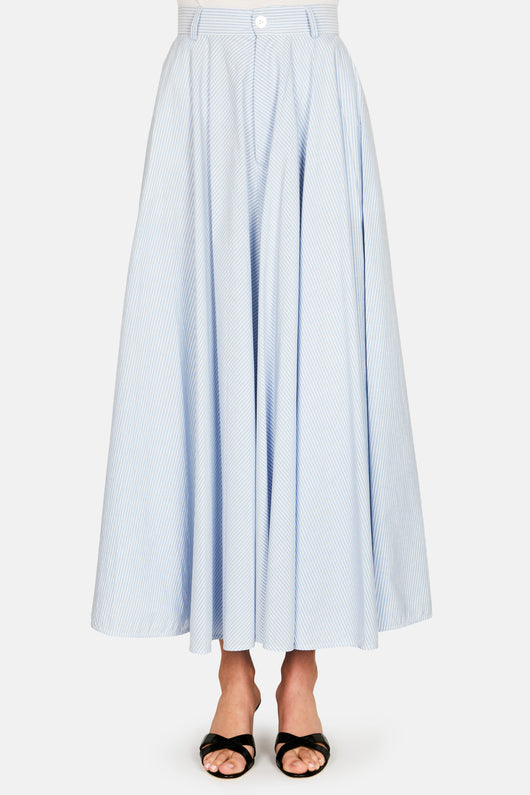 Midi Skirt - White/Blue Stripe