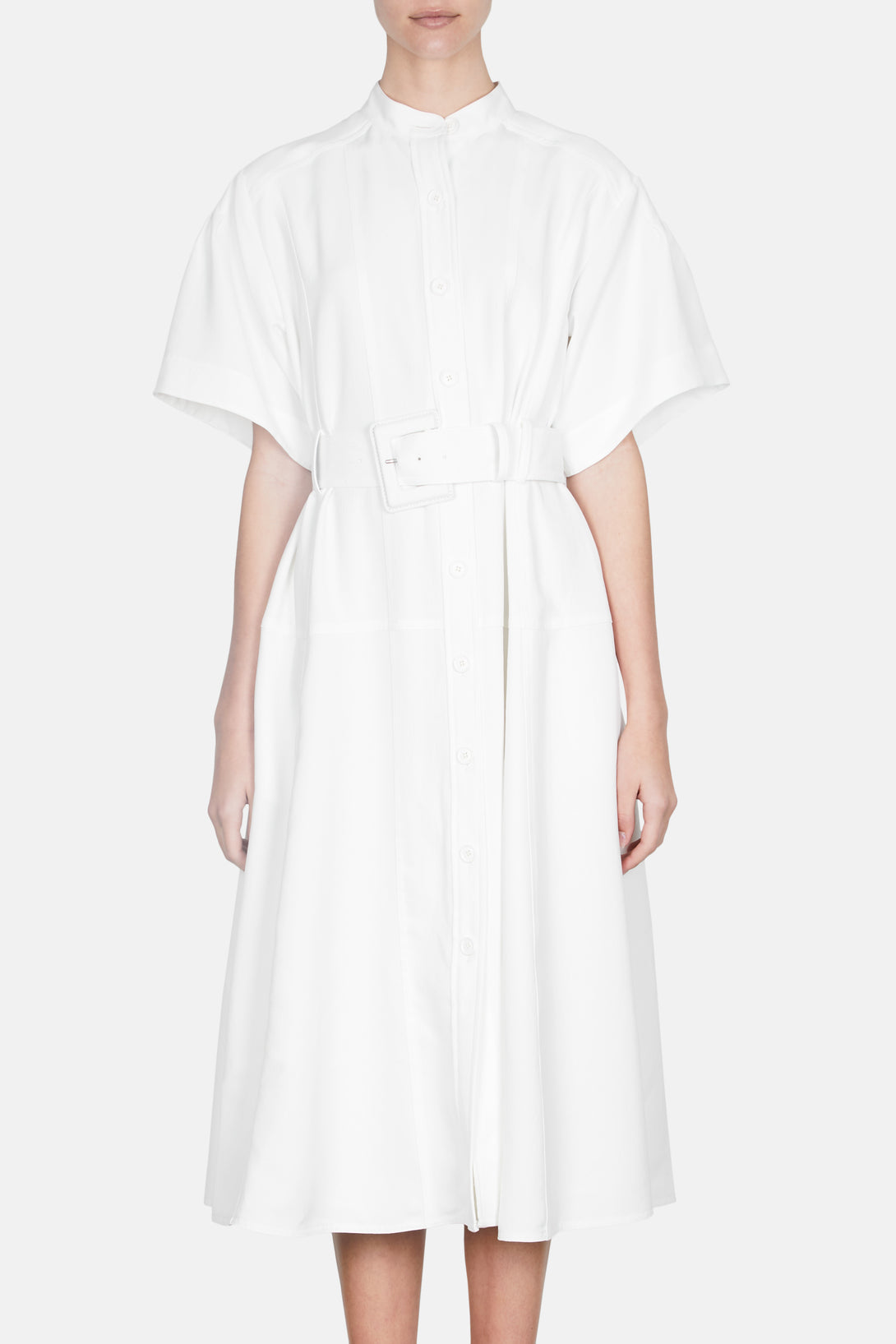 Short Sleeve Crepe Shirt Dress - Off White