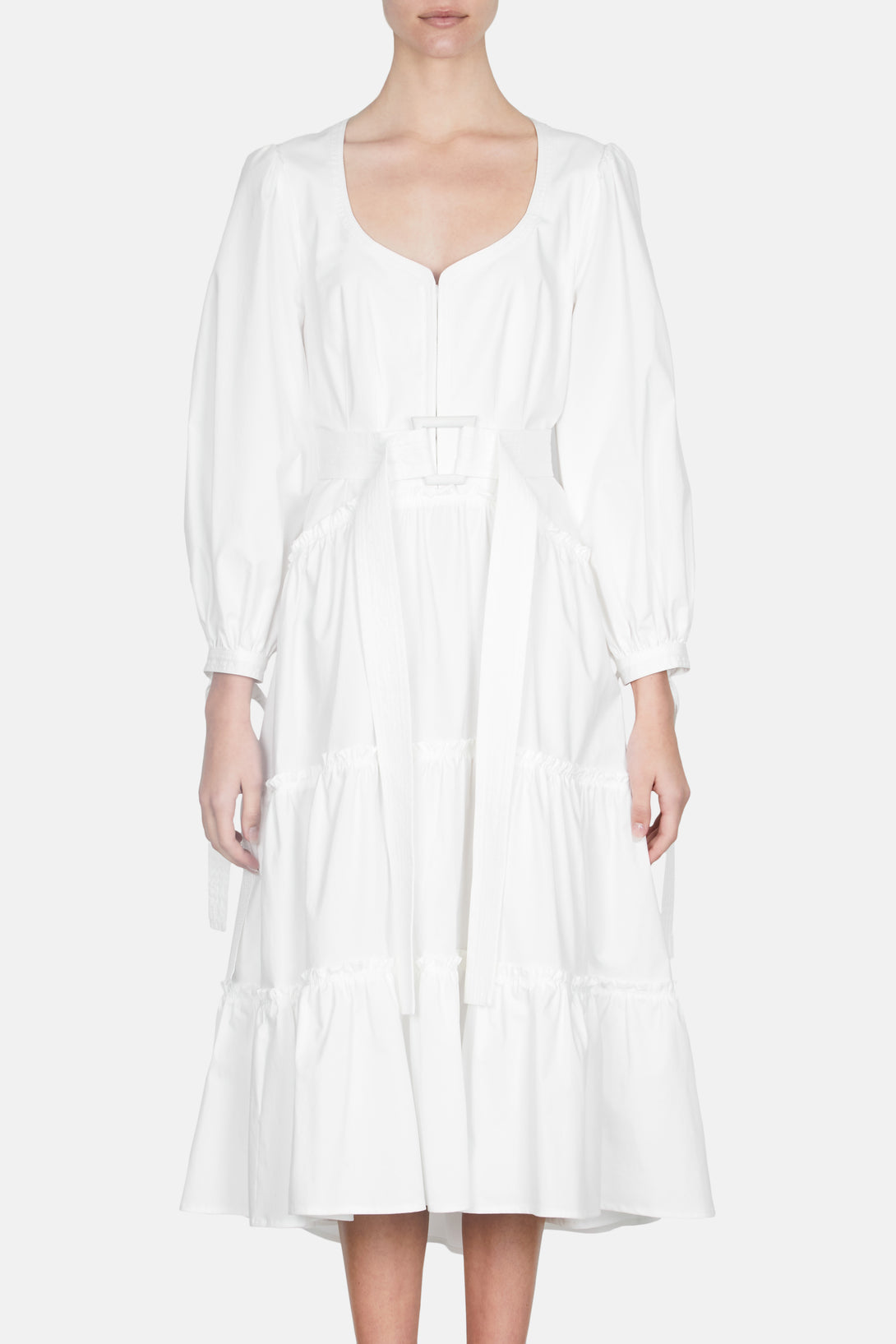 Cotton Puff Sleeve Dress - White
