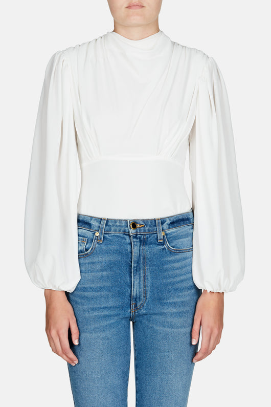 Ronan Drape Neck Top - White