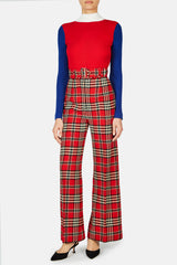 Jana Belted Flare Trouser - Red Tartan Check