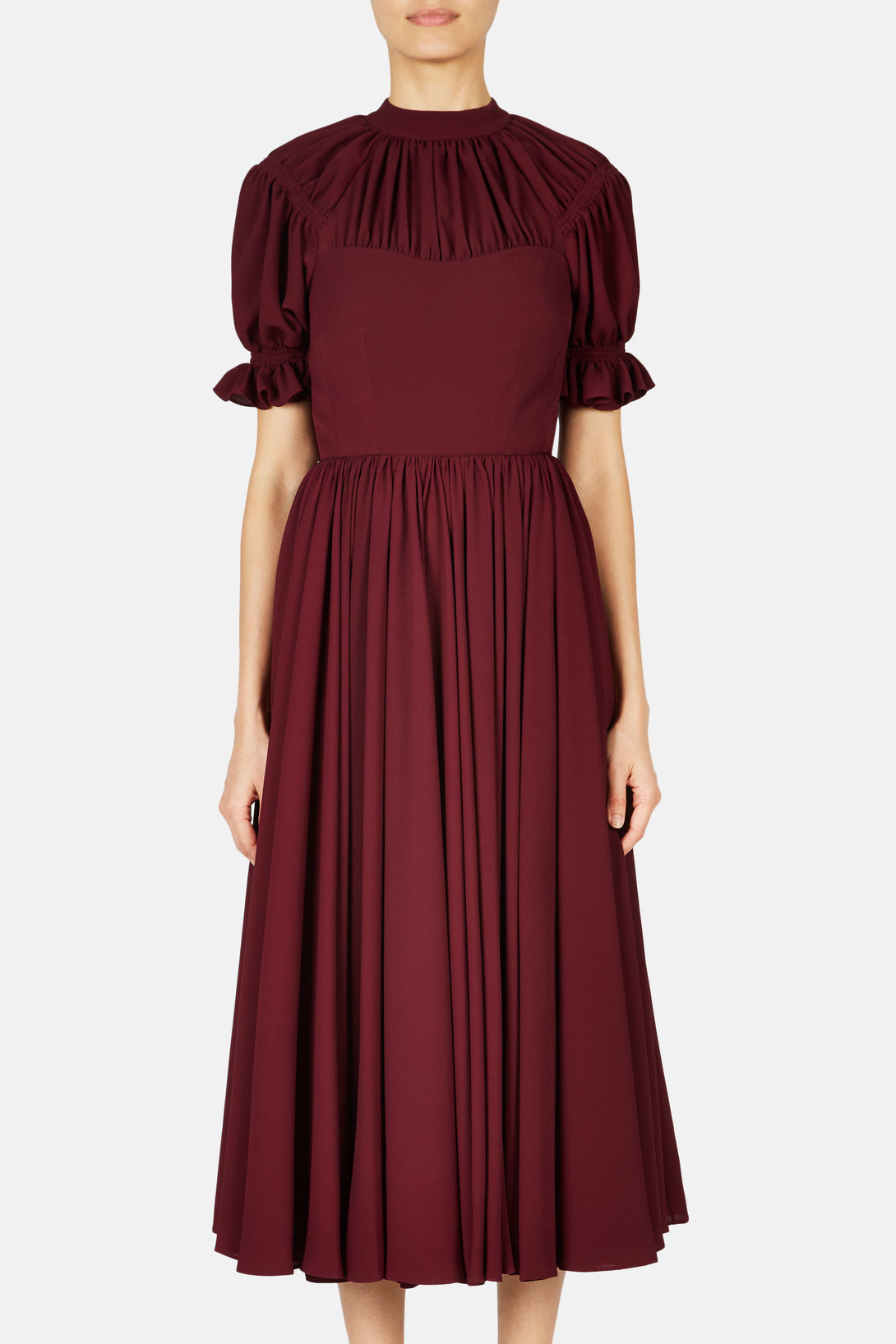 Philly Gathered Neck Dress - Aubergine