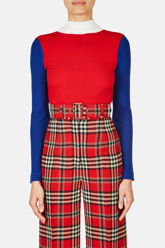 Harry Ribbed Turtleneck Sweater - Red/White/Blue