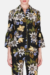 Aran Flared Sleeve Button Front Top - Black/Multi