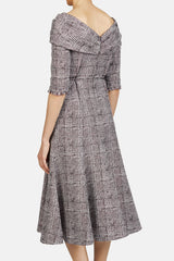 Iman Dress - Check Jacquard Burgundy
