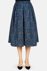 Ina Midi Length Skirt with Tucks - Blue/Multi