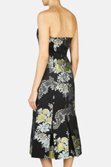 Leora Strapless Midi Length Dress with Botton Front Detail and Box Pleats - Black/Mint/Yellow