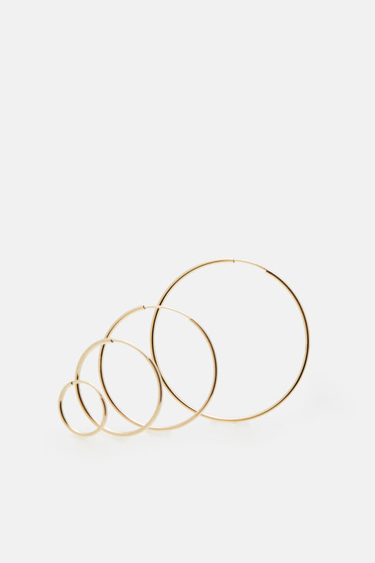 Disc Hoops (Set of 4) - 14K Yellow Gold