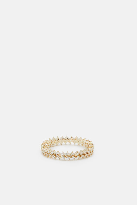 Double Baguette Axis Ring - 14K Yellow Gold