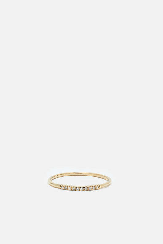Mini Axis Ring with Pave Diamonds - Yellow Gold/White Diamond
