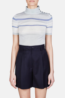 Sage Short Sleeve Striped Turtleneck - Sage