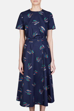 Eva Short Sleeve Abstract Line Print Dress - Navy