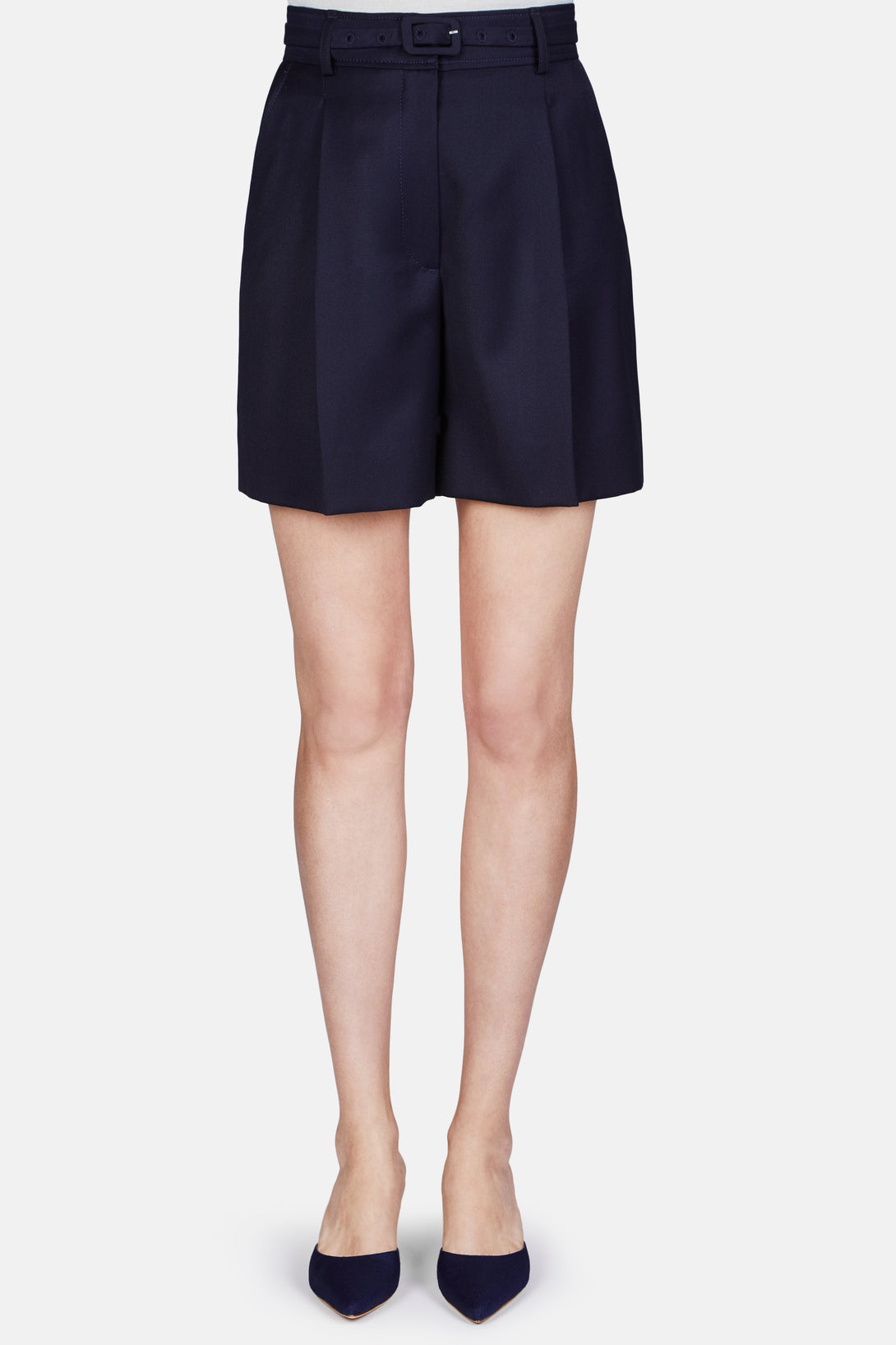 Clara Front Pleat Belted Short - Dark Navy